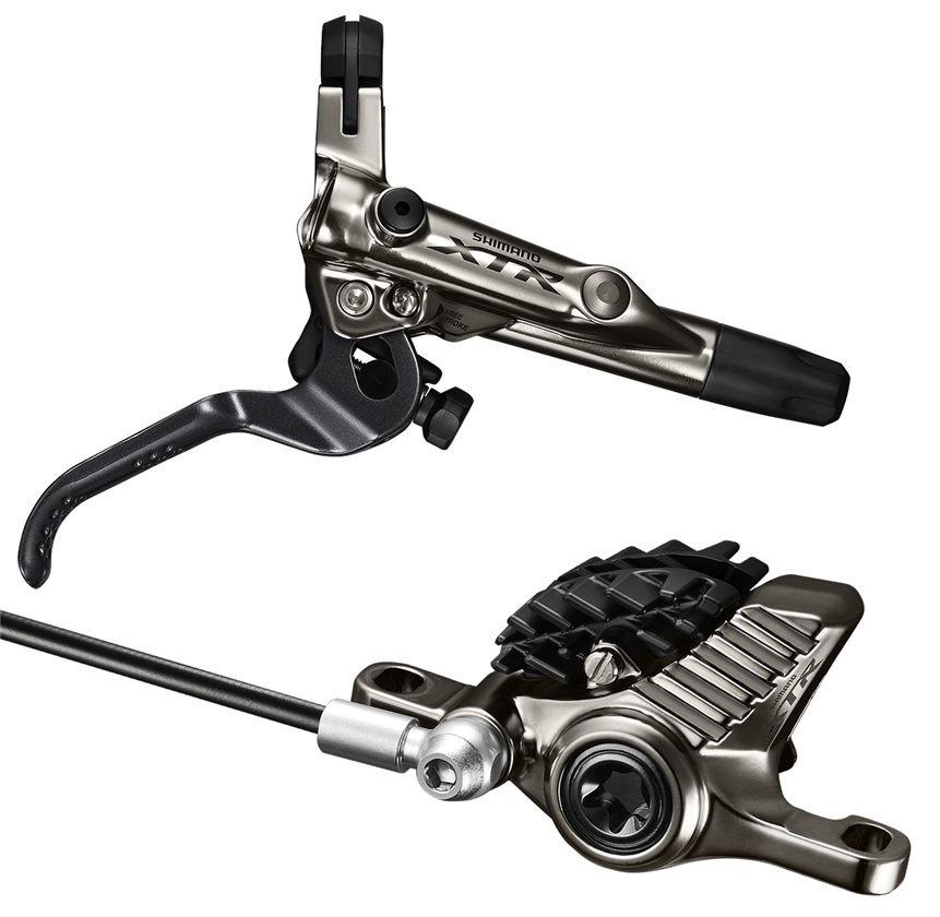 Shimano XTR M9020 Trail Brake : Rear - Right Hand Lever - 1600mm Hose - With Fins - 180mm adapter (no rotor included)-0